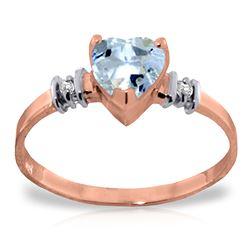 Genuine 0.98 ctw Aquamarine & Diamond Ring Jewelry 14KT Rose Gold - REF-34V3W