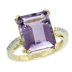 Natural 5.48 ctw amethyst & Diamond Engagement Ring 10K Yellow Gold - REF-39Y6X