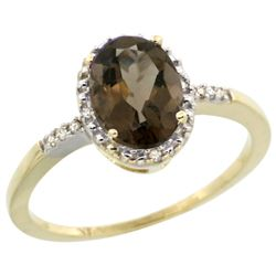 Natural 1.2 ctw Smoky-topaz & Diamond Engagement Ring 14K Yellow Gold - REF-23F2N