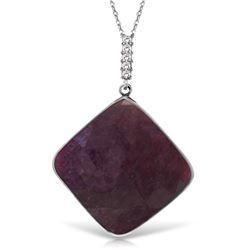 Genuine 20.33 ctw Ruby & Diamond Necklace Jewelry 14KT White Gold - REF-84W8Y