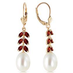 Genuine 9.2 ctw Pearl & Garnet Earrings Jewelry 14KT Yellow Gold - REF-45V8W