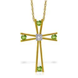 Genuine 0.43 ctw Peridot & Diamond Necklace Jewelry 14KT Yellow Gold - REF-76X7M