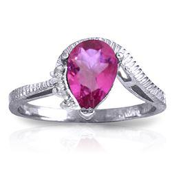 Genuine 1.52 ctw Pink Topaz & Diamond Ring Jewelry 14KT White Gold - REF-51H4X