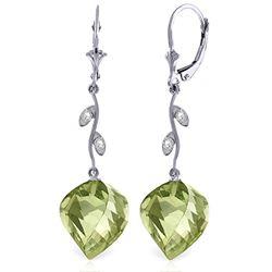 Genuine 26.02 ctw Green Amethyst & Diamond Earrings Jewelry 14KT White Gold - REF-65R8P