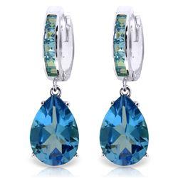 Genuine 13.2 ctw Blue Topaz Earrings Jewelry 14KT White Gold - REF-68K7V