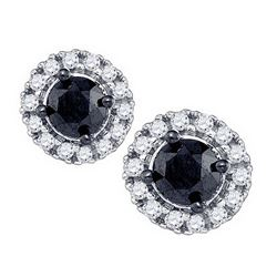 1.03 CTW Black Color Diamond Solitaire Circle Earrings 10KT White Gold - REF-30W2K