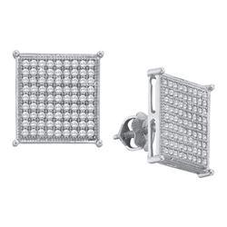 0.50 CTW Diamond Square Cluster Screwback Earrings 10KT White Gold - REF-33W8K
