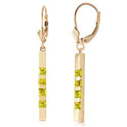 Genuine 0.70 ctw Peridot Earrings Jewelry 14KT Yellow Gold - REF-55A2K