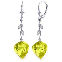 Genuine 21.52 ctw Lemon Quartz & Diamond Earrings Jewelry 14KT White Gold - REF-57Y6F