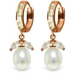 Genuine 10.30 ctw White Topaz & Pearl Earrings Jewelry 14KT Rose Gold - REF-56Z7N