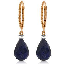 Genuine 17.7 ctw Sapphire & Diamond Earrings Jewelry 14KT Rose Gold - REF-42T6A