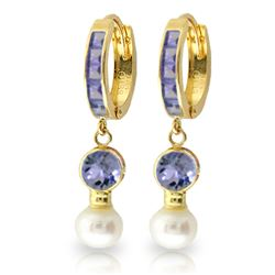Genuine 4.65 ctw Tanzanite & Pearl Earrings Jewelry 14KT Yellow Gold - REF-61X3M