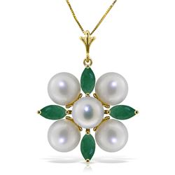 Genuine 6.3 ctw Emerald & Pearl Necklace Jewelry 14KT Yellow Gold - REF-63A4K