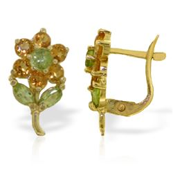 Genuine 2.12 ctw Peridot & Citrine Earrings Jewelry 14KT Yellow Gold - REF-36W8Y