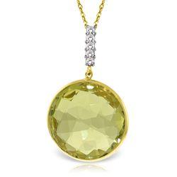 Genuine 17.08 ctw Lemon Quartz & Diamond Necklace Jewelry 14KT Yellow Gold - REF-54W6Y