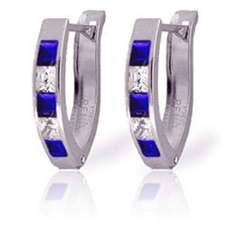 Genuine 1.26 ctw Sapphire & White Topaz Earrings Jewelry 14KT White Gold - REF-26V2W