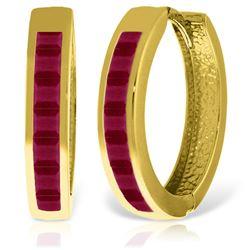 Genuine 1.85 ctw Ruby Earrings Jewelry 14KT Yellow Gold - REF-64A6K