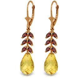 Genuine 11.20 ctw Citrine & Garnet Earrings Jewelry 14KT Rose Gold - REF-56K2V
