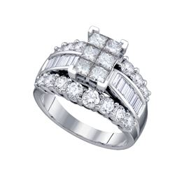 3 CTW Princess Diamond Cluster Bridal Engagement Ring 14KT White Gold - REF-344K9W