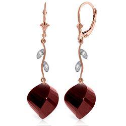 Genuine 30.52 ctw Ruby & Diamond Earrings Jewelry 14KT Rose Gold - REF-66V2W