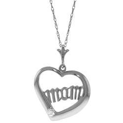 Genuine 0.01 ctw Diamond Anniversary Necklace Jewelry 14KT White Gold - REF-35Z9N