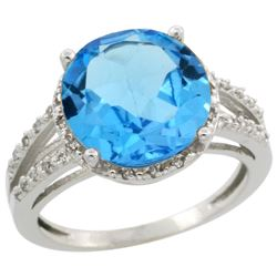 Natural 5.34 ctw Swiss-blue-topaz & Diamond Engagement Ring 10K White Gold - REF-35Z4Y
