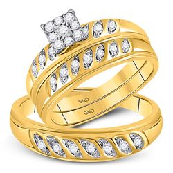 0.33 CTW His & Hers Diamond Solitaire Matching Bridal Ring 10KT Yellow Gold - REF-41M9H