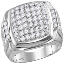 2.65 CTW Mens Diamond Square Symmetrical Cluster Ring 10KT White Gold - REF-178M4H