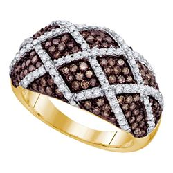 1.34 CTW Cognac-brown Color Diamond Cocktail Ring 10KT Yellow Gold - REF-82M4H