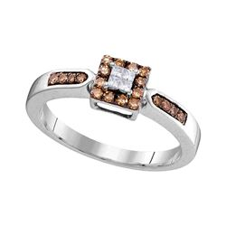 0.25 CTW Cognac-brown Color Diamond Square Cluster Ring 10KT White Gold - REF-19N4F