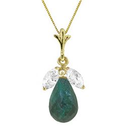 Genuine 9.3 ctw Green Sapphire & White Topaz Necklace Jewelry 14KT Yellow Gold - REF-28V9W