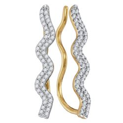0.25 CTW Diamond Double Two Row Climber Earrings 10KT Yellow Gold - REF-22X4Y