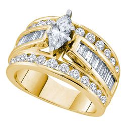 3 CTW Marquise Diamond Solitaire Bridal Engagement Ring 14KT Yellow Gold - REF-449M9H