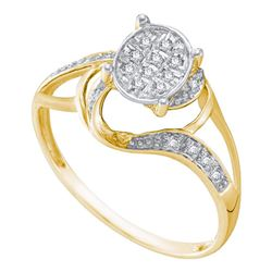 0.10 CTW Diamond Oval Cluster Split-shank Ring 10KT Yellow Two-tone Gold - REF-13N4F