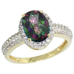 Natural 1.91 ctw Mystic-topaz & Diamond Engagement Ring 10K Yellow Gold - REF-31F7N