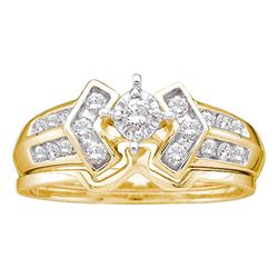 0.25 CTW Diamond Bridal Wedding Engagement Ring 10KT Yellow Gold - REF-41N2F