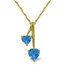 Genuine 1.40 ctw Blue Topaz Necklace Jewelry 14KT Yellow Gold - REF-23R8P
