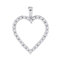 0.25 CTW Diamond Heart Outline Pendant 10KT White Gold - REF-20M9H