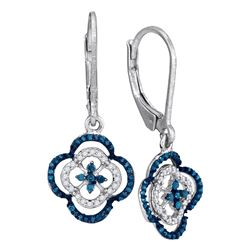 0.35 CTW Blue Color Diamond Dangle Earrings 10KT White Gold - REF-22W4K