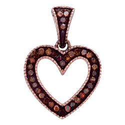 0.10 CTW Red Color Diamond Heart Love Pendant 10KT Rose Gold - REF-13F4N