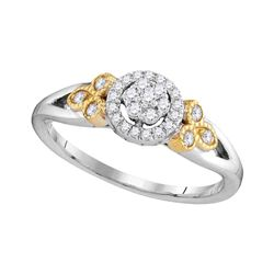 0.25 CTW Diamond Cluster Millgrain Bridal Engagement Ring 10KT Two-tone Gold - REF-30H2M