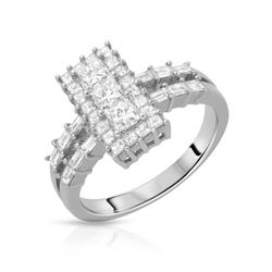 1.13 CTW Diamond Ring 14K White Gold - REF-137R3K