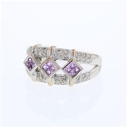 0.71 CTW Pink Sapphire & Diamond Ring 14K White Gold - REF-51W2H