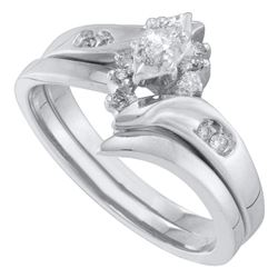 0.17 CTW Marquise Diamond Bridal Engagement Ring 10KT White Gold - REF-34H4M