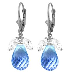 Genuine 14.4 ctw White Topaz & Blue Topaz Earrings Jewelry 14KT White Gold - REF-46X7M