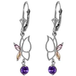 Genuine 0.80 ctw Amethyst Earrings Jewelry 14KT White Gold - REF-38N2R