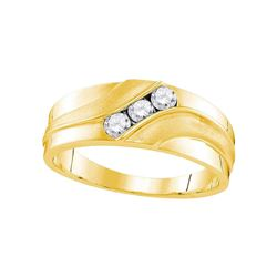 0.33 CTW Mens Diamond Wedding Ring 10KT Yellow Gold - REF-41F3N