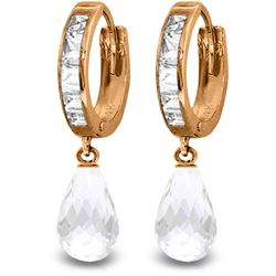 Genuine 5.35 ctw White Topaz Earrings Jewelry 14KT Rose Gold - REF-43Y6F