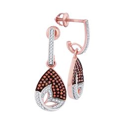 0.41 CTW Red Color Diamond Teardrop Dangle Earrings 10KT Rose Gold - REF-41F9N