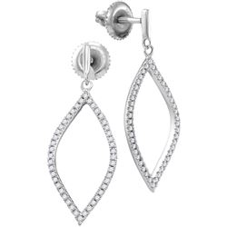 0.20 CTW Diamond Oblong Oval Dangle Earrings 10KT White Gold - REF-18Y2X